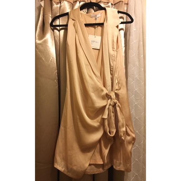 Silky Plunge Blazer Dress